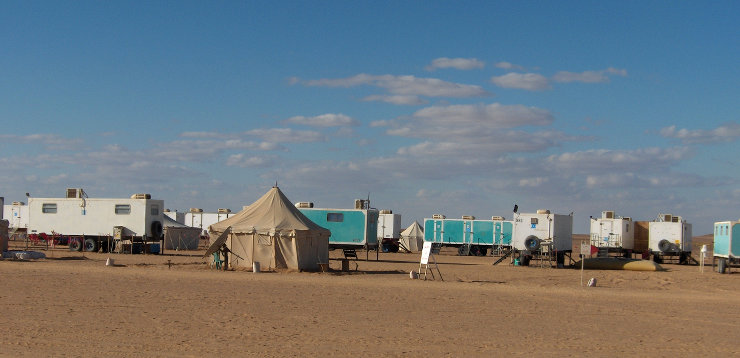 Desert seismic camp in Egypt